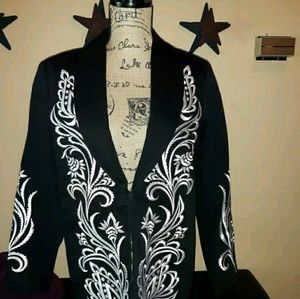 Bob Mackie Wearable Art blazer black/white